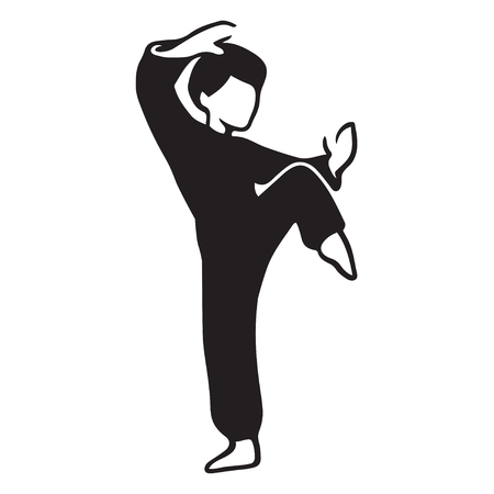 Martial Art Master illustration. Man in karate pose, stylized black and white drawing. Illustration