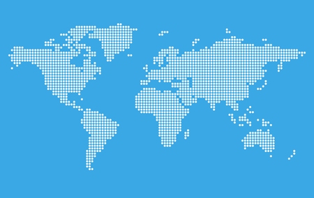 Stylized world map on blue background. Digital pixel style. Vector illustration template.