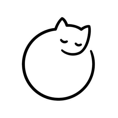 Minimal sleeping cat illustration, stylized simple circle logo.