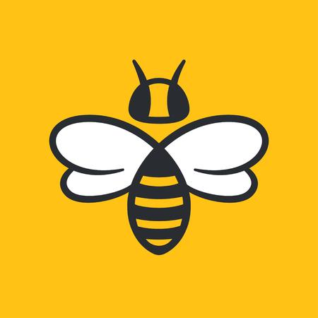 Biene oder Wespe Logo Design Vektor-Illustration. Einfache stilisierte Ikone in der flachen Karikaturart.