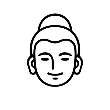 Simple smiling Buddha head icon or logo. Minimal black and white vector illustration, Zen Buddhism symbol. Illustration