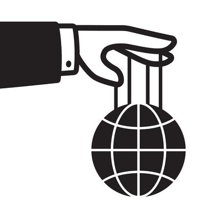 文字列、世界支配および制御の概念にグローブ付きハンド。黒と白は、ベクター グラフィックを分離しました。  イラスト・ベクター素材