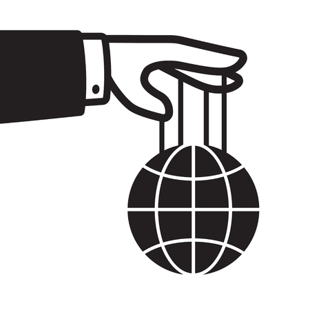 Hand met wereldbol op snaren, wereldoverheersing en controle concept. Zwart-witte geïsoleerde vectorillustratie. Stock Illustratie