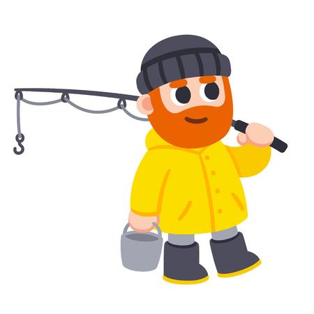 Cute cartoon fisherman character drawing. Man with beard and yellow raincoat holding fishing rod and bucket. Vector illustration. Illustration