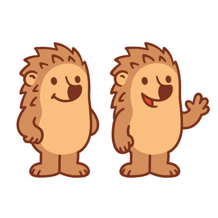 spiked: Cute cartoon Hedgehog character drawing, smiling and waving. Simple modern style vector illustration.