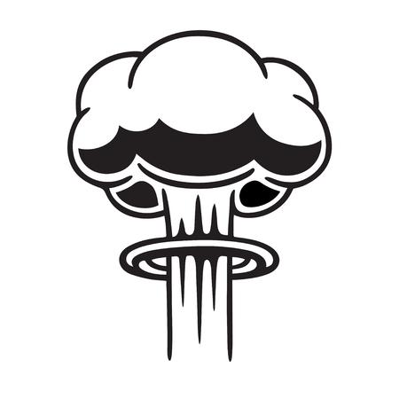 Ilustración de la nube de la seta nuclear del estilo cómico de la historieta. Vector blanco y negro gráfico de imágenes prediseñadas. Ilustración de vector