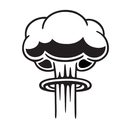 Cartoon comic style nuclear mushroom cloud illustration. Black and white vector clip art graphic.