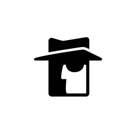 Stylized spy icon. Face silhouette with hat and dark glasses, secret service agent vector symbol.