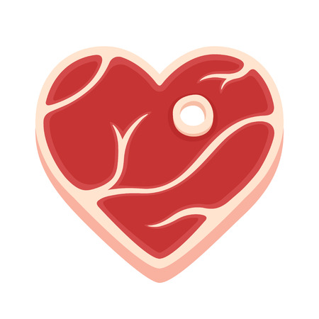 meat lover: Heart shaped steak isolated vector illustration. Cartoon style piece of raw meat. Illustration