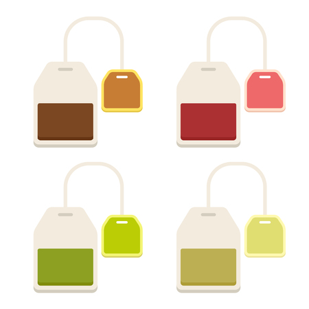 Different teabags icon set isolated on white. Black, red, green and herbal tea. Simple flat vector illustrations. Illustration