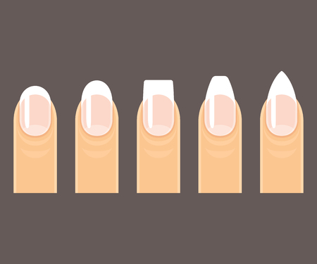 pointy: Professional manicure nail shapes set. Round, square and pointy (stiletto) nails on dark background. Vector illustration. Illustration