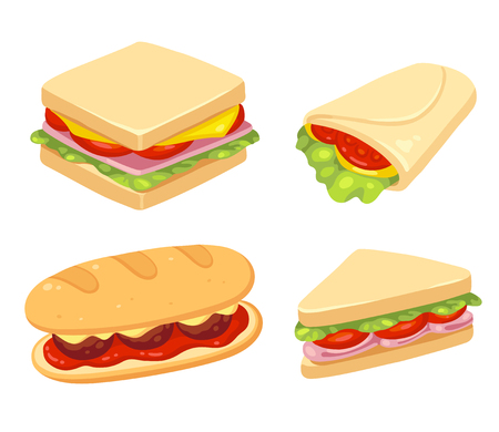 deli sandwich: Set of 4 sandwiches. Meatball sub, wrap and traditional ham and cheese on toast. Vector clip art illustration set.