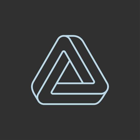 Illusione ottica di Penrose, impossibile logo triangolare. Illustrazione di vettore di design elegante simbolo moderno.