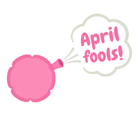 prankster: April Fools poster with Whoopee cushion. Cartoon vector illustration. Illustration