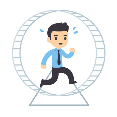 Cartoon businessman running in hamster wheel. Rat race concept and workplace anxiety vector illustration.  イラスト・ベクター素材