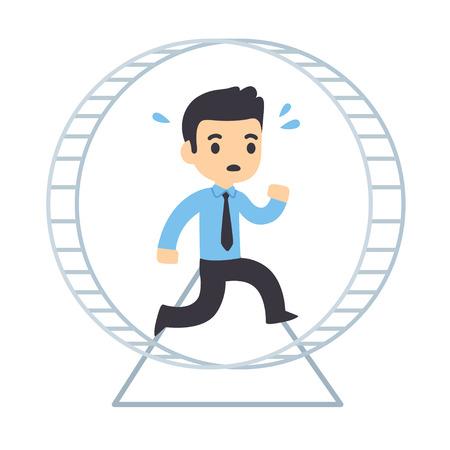 Karikaturgeschäftsmann, der in Hamsterrad läuft. Rattenrassenkonzept und Arbeitsplatzangstvektorillustration. Vektorgrafik