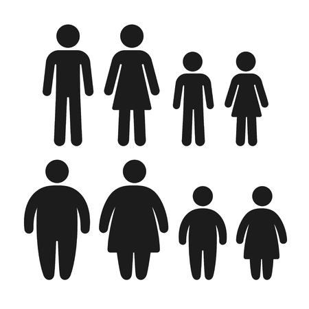 Zestaw ikon zdrowych i otyłych osób. Mężczyzna, kobieta i dzieci, problem z nadwagą rodziny. Proste płaskie wektora symboli.