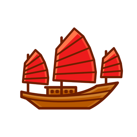 Chinese Junk boat icon with red sails. Simple cartoon style vector ship illustration. Illustration