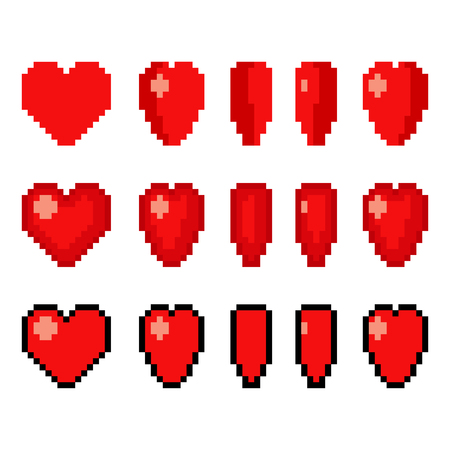 Pixel art heart animation set. 5 frame spinning 8-bit icon in different styles. Game art vector illustration.