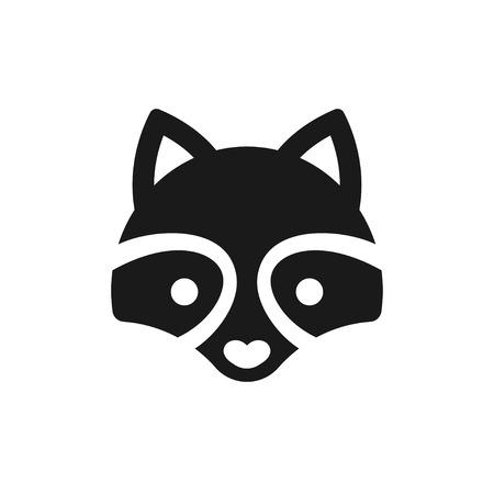 Minimal icono de mapache o ilustración de logotipo. Cara estilizada de dibujos animados animal en el estilo de vector simple.