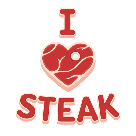 I love steak text with heart shaped peace of meat, funny vector cartoon illustration.