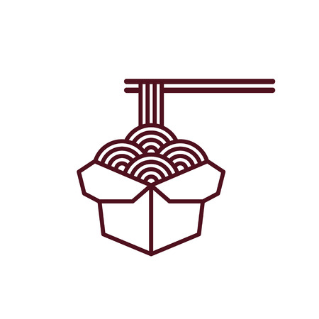 Chinese noodles in takeout box with chopsticks. Asian fast food illustration. Simple modern vector line icon. Illustration
