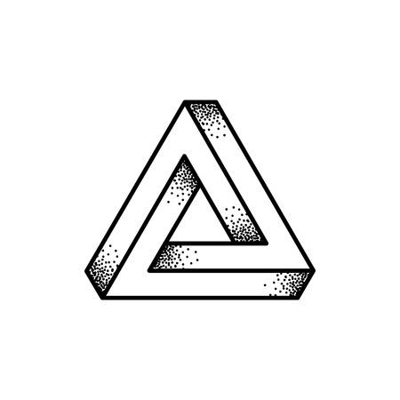 retro illustration: Optical illusion Penrose triangle logo design. Retro print illustration style black and white vector icon.