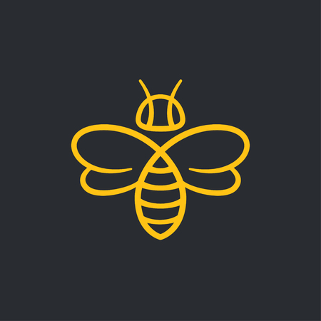 Bee or wasp logo design vector illustration. Stylish minimal line icon. Çizim