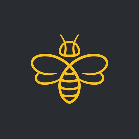 Pszczoły lub osy logo projekt ilustracji wektorowych. Stylowa minimalna linia ikona.