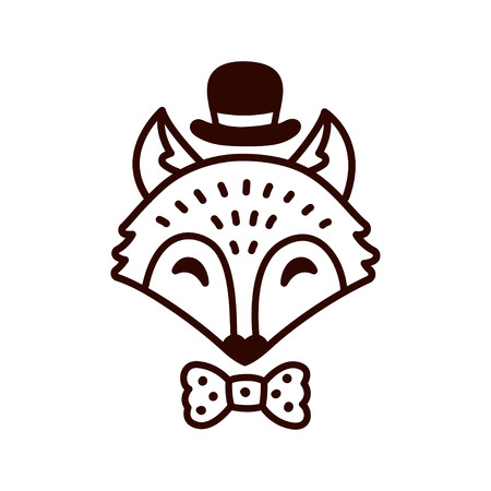Cute cartoon fox drawing with hat and bowtie. Hand drawn doodle style vector illustration. Illustration