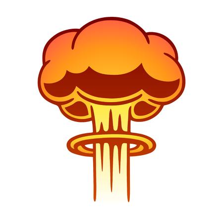 Ejemplo cómico de la nube de la seta del estilo cómico de la historieta. Arte de clip de vector de explosión atómica. Ilustración de vector