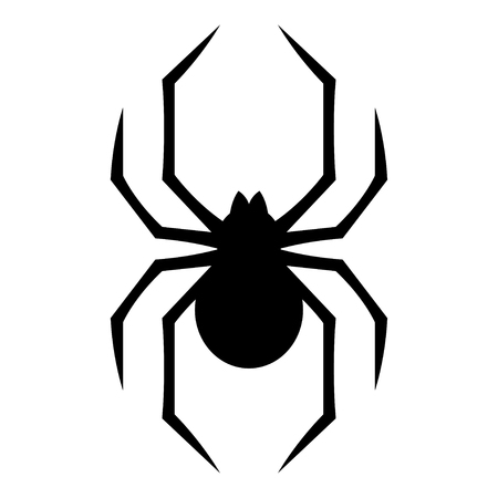 Icono estilizado de araña geométrica aislado sobre fondo blanco. Espeluznante araña símbolo ilustración vectorial.