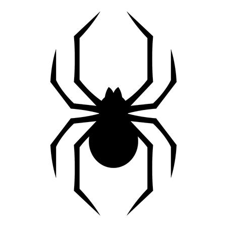 Stylized geometric spider icon isolated on white background. Creepy spider symbol vector illustration.