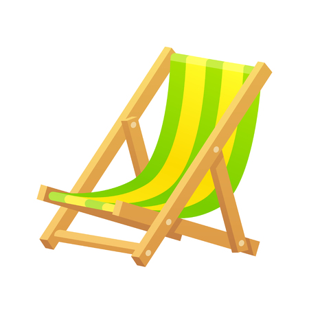 chaise longue: Wooden beach lounge chair vector illustration isolated on white background. Classic striped cartoon chaise longue.