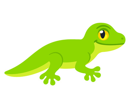 Cute cartoon lizard character vector drawing. Little green smiling reptile illustration.