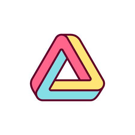 Penrose trialngle icon. Impossible geometric shape, bright color logo design vector illustration. Illustration
