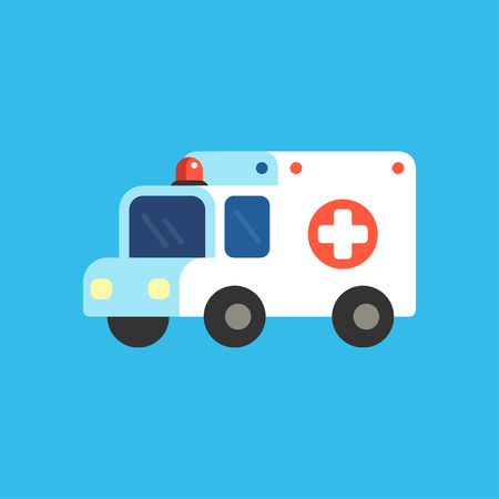 Cartoon ambulance vector illustration. Cute and simple medical emergency car icon.