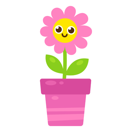 Cute cartoon pink flower with smiling face in flower pot vector cute cartoon pink flower with smiling face in flower pot vector illustration in simple modern mightylinksfo