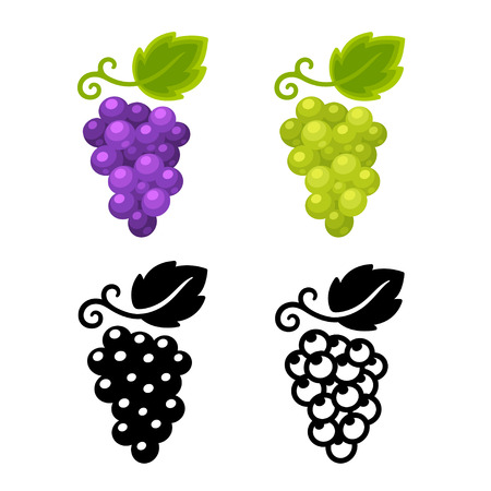 Grape icon set, black and color version of different grape types. Wine symbol vector illustration.