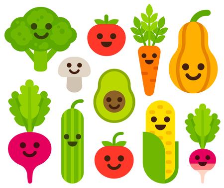 Cute cartoon smiling vegetables set. Healthy food vector illustration. Vettoriali