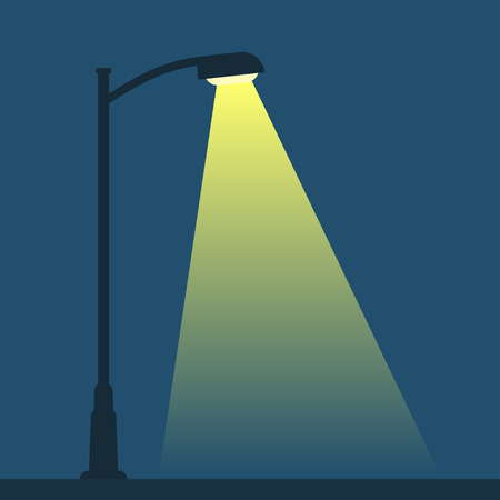 Streetlight lamp post on dark background with spotlight. Simple vector illustration.