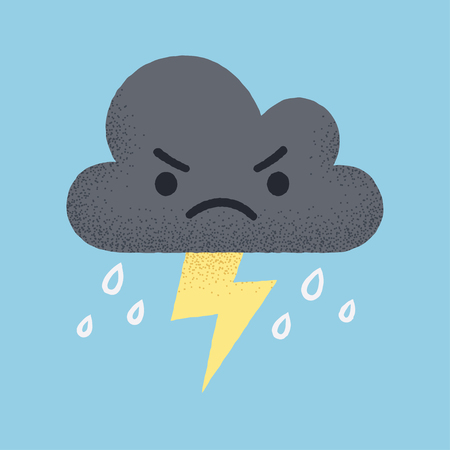 storm cloud: Cartoon angry storm cloud with lightning and rain. Cute retro style vector illustration.