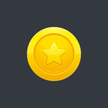 Video game golden coin or medal with star shape on dark background, vector illustration. Interface design element. Vettoriali