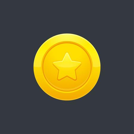 Video game golden coin or medal with star shape on dark background, vector illustration. Interface design element. Illustration