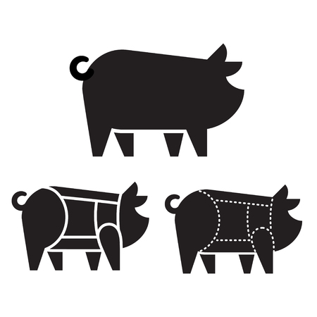 Pig silhouette icon with pork cuts chart. Meat and butcher industry infographic vector illustration. Illustration