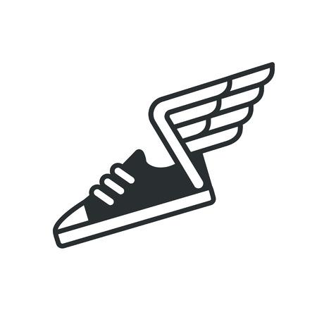 스 니 커와 날개 아이콘입니다. 벡터 스포츠 신발 라인 로고입니다. 일러스트