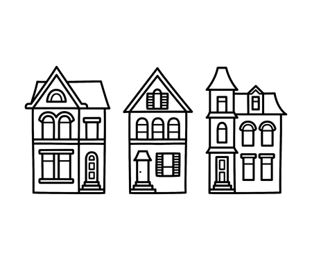edwardian: Old Victorian style detached houses vector illustration. Hand drawn architecture contour drawing set.