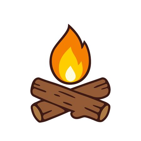 Lagerfeuervektor-Ikonenillustration lokalisiert auf Weiß. Gekreuzte Klotz und Feuerflamme in der Karikaturart. Vektorgrafik