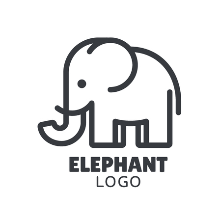 Simple and minimal elephant logo illustration. Modern vector line icon.  イラスト・ベクター素材