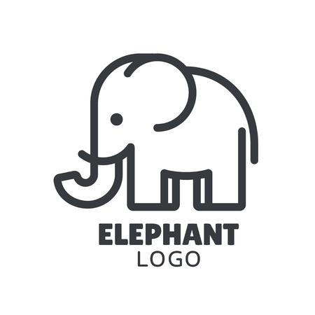 Simple and minimal elephant logo illustration. Modern vector line icon.  イラスト・ベクター素材